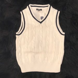GAP Toddler Boys Sweater Vest White Navy NWT
